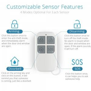 130db Door Open Chime Alert Wireless Magnetically Door Window Alarm Sensor with Remote Controls
