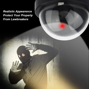Security Camera Dummy Dome Camera with Flashing Red LED