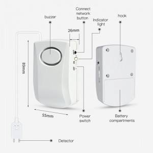 2020 new design tuya smart wifi home alarm systerm 130db water leak detector sensor