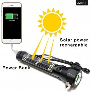 LED tactical flashlight torches power banks car emergency hammer seatbelt cutter