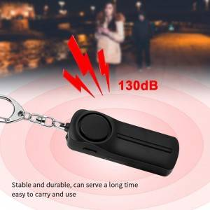 Portable personal alarm loud siren song 130 db pull out active with led light key ring for women girls runner