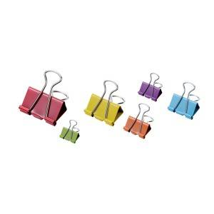 Assorted Color Binder Clips in Plastic Box