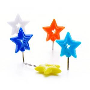 Plastic Doble Five-pointed Star Push Pins in Blister Card