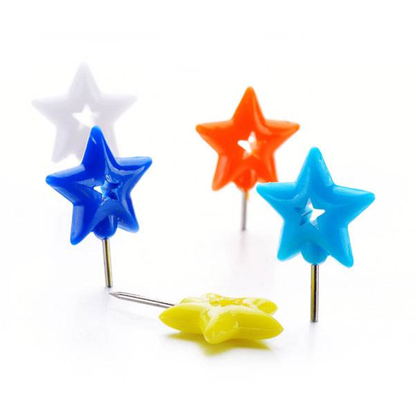 OEM/ODM Supplier Seller Desktop Storage - Plastic Doble Five-pointed Star Push Pins in Blister Card – Aiven