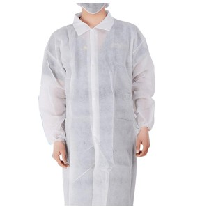 Cleaing Disposable Lab Hillary Multilayer Spunbond, Collar Knitted û gerandin, Full-length Lab Gown, XXL