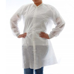 Disposable SMS Lab Coat, No Pockets, White, Large, 10 Pack