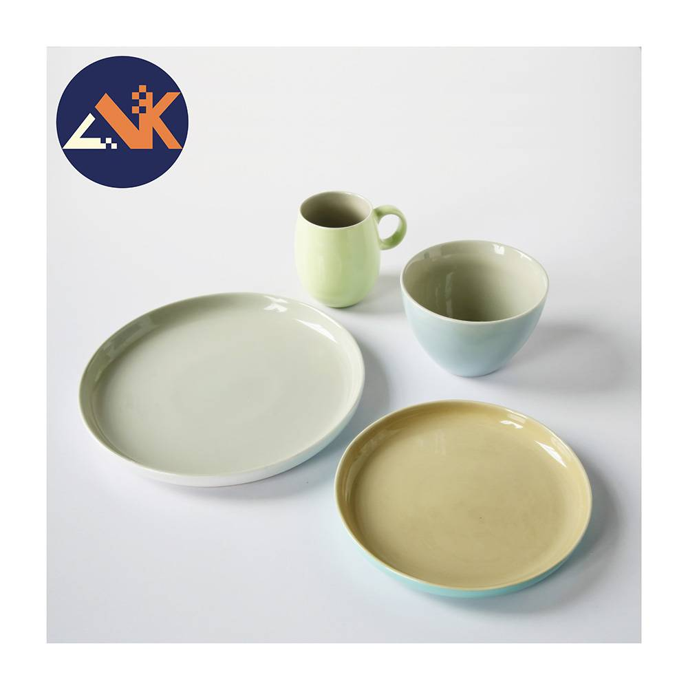 Hot sale macaron colorful 16pcs ceramic stoneware dinner set Featured Image