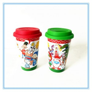 ceramic travel mug,stoneware travel mug with silicone lid,