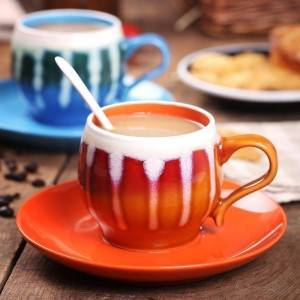 pumpkin ceramic tea cup set with saucer