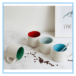 450 ml White outside colorful inside Ceramic Mug Stoneware Water Mug