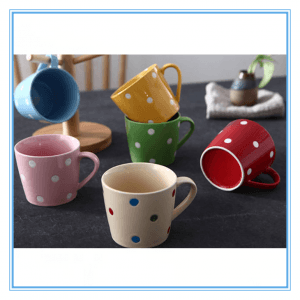In Floor Price Promotional Popular Ceramic Mug/ Stoneware Ceramic Mug With Cute Polka Dot