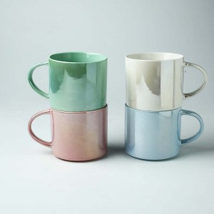 Pearl Glaze Colourful Ceramic Cup Stack Coffee Mugs