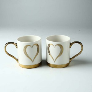 Classic Ceramic Mugs golded heart design Cups with Golden Handle Custom Mug