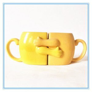 Factory Custom Hot Sale Stoneware Mugs Decal And Glazed Heart Shape Ceramic Couple Mug