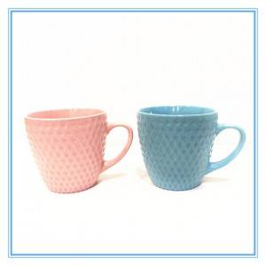 Wholesale Colorful Glaze Grid Mug stoneware Mug