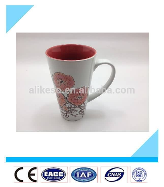 2015 hot sale large flower porcelain coffee mug