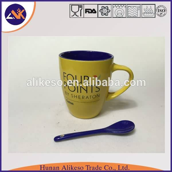 Hot sale cute stoneware ceramic travel mug with spoon