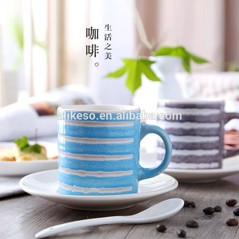 Top sale and high quality cheap beautiful coffee cups, cute milk ceramic mugs with plate