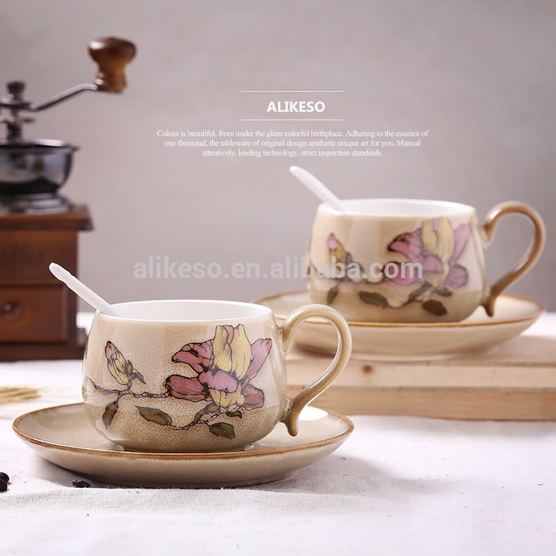 Ceramic coffee mugs and saucer sets