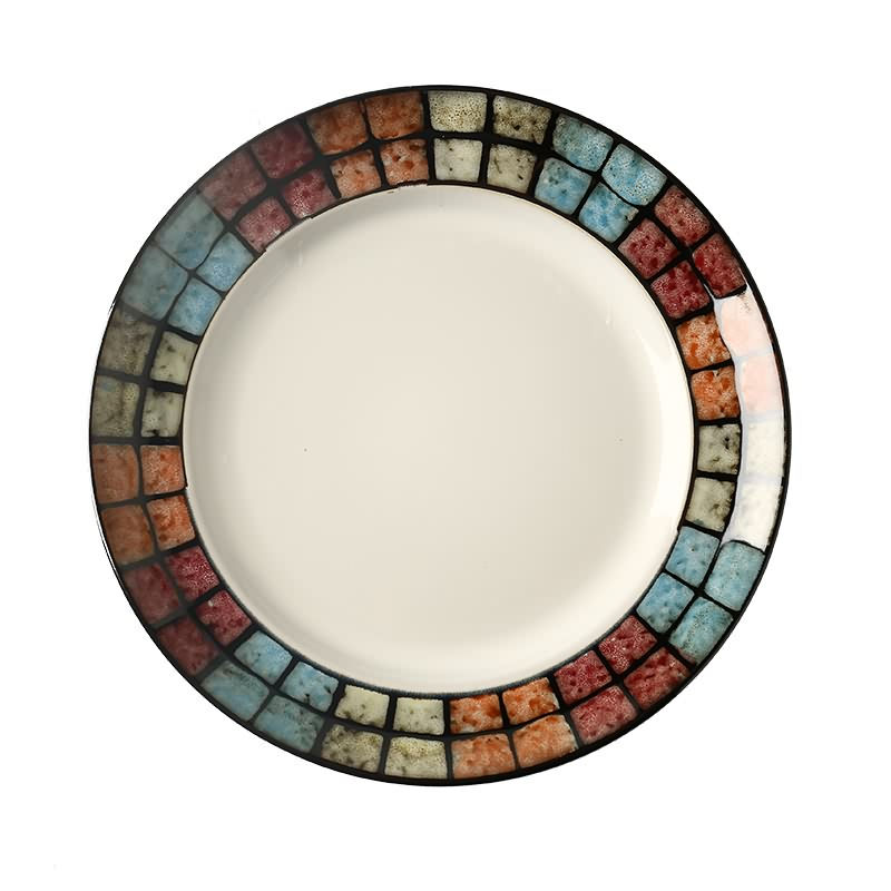 "Top Quality 10.5"" 8.5"" Round Stoneware Hand Painted Restaurant Dinner Plate Custom Printed Reactive Glaze Ceramic Plate Featured Image"