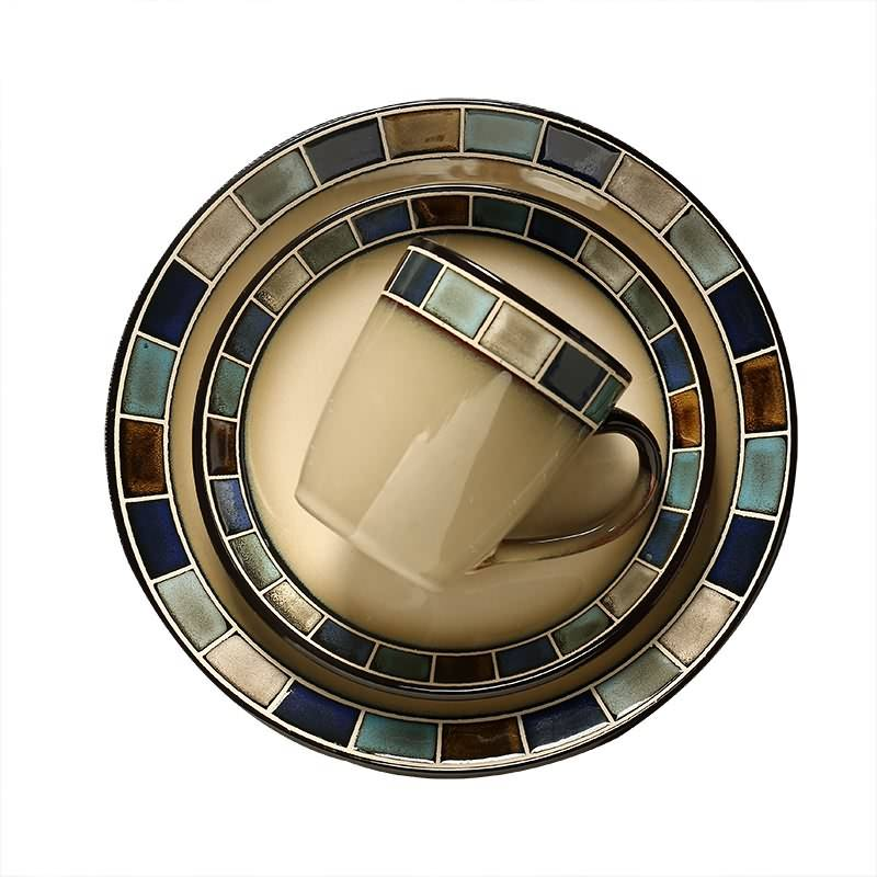 "Top Quality 10.5"" 8.5"" Round Stoneware Hand Painted Restaurant Dinner Plate Custom Printed Reactive Glaze Ceramic Plate"