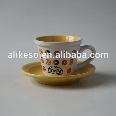 high quality beautiful design cheap ceramic cup with saucer