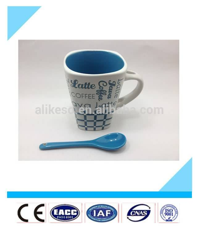 cheap bule porcelain special mug,latte cup with spoon