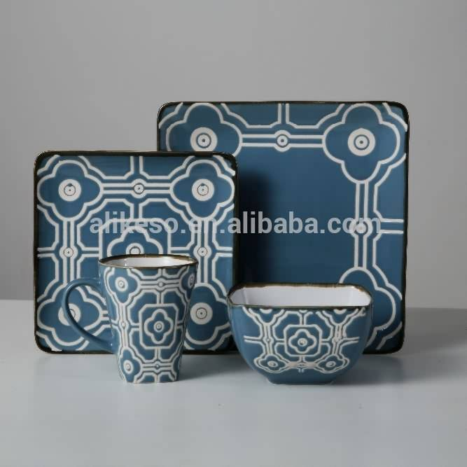 Hot sale 16pcs stoneware dinner set with hand-painted design
