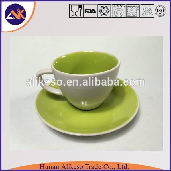 Green color cheap bulk stoneware ceramic coffee mug with plate wholsaler from China factory
