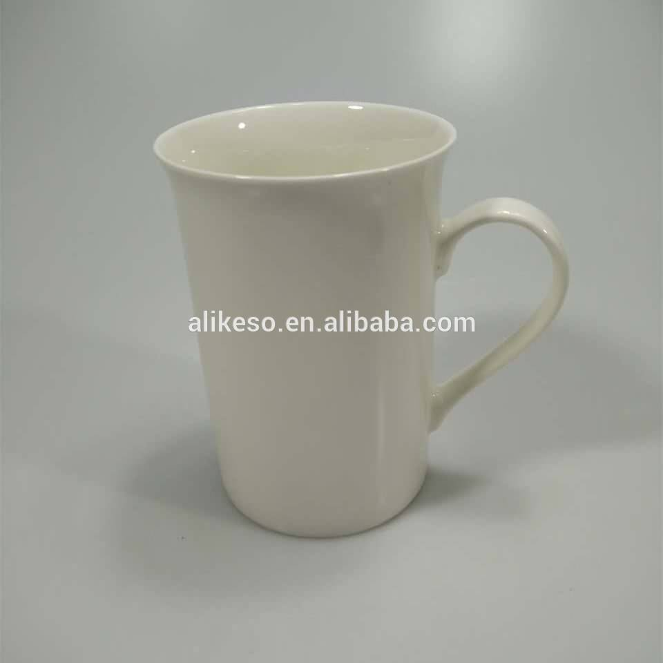 Tall blank white 350ml new bone china suction mug