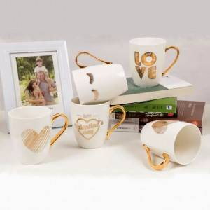 Hot sale golden handle ceramic mug