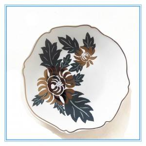 5″and 8″ Ceramic Stoneware Plate/Gold Chrysanthemum Irregular White Plate