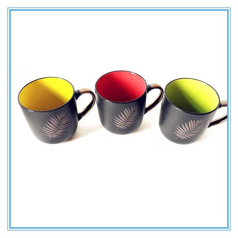 Leaf Silkscreen Printing Style Ceramic Gold Handle Custom Matte Black Coffee Cup Featured Image