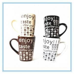 China Factory Directly Sale Whole Silkscreen Printing Square Stoneware Mug