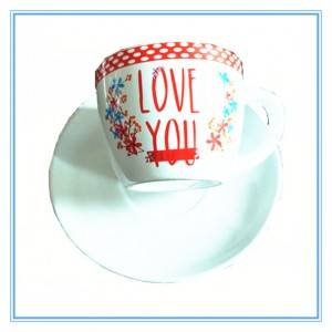 Eco-friendly Decal art stoneware mug with saucer , ceramic tea coffee mug for wedding and Restaurant