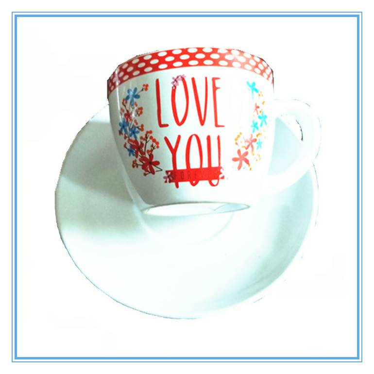 Eco-friendly Decal art stoneware mug with saucer , ceramic tea coffee mug for wedding and Restaurant Featured Image