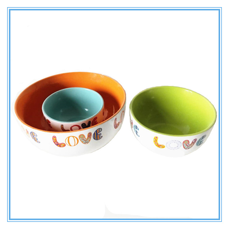 Decal Art Stoneware Bowl,A Set of 3 Pieces Ceramic Colorful Bowls Featured Image
