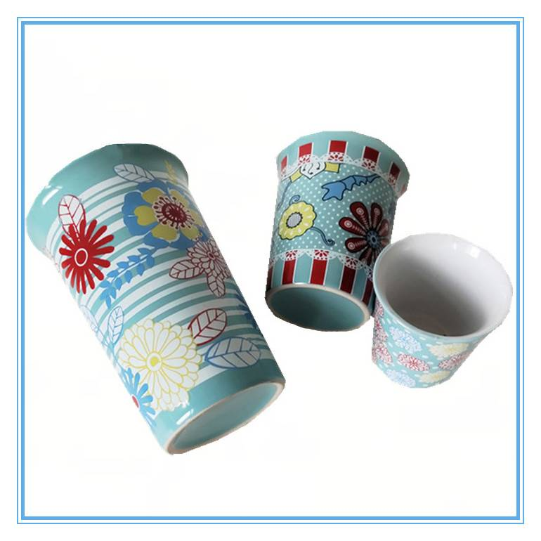 Manufacturers Hot Sales One Set of 3 Pieces Sky Blue Stoneware Mug Decal Ceramic Flaring Cups Featured Image