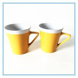 "Yellow "" V"" Shaped Glazed Small Mug 6 oz Stoneware Mugs"