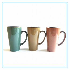 V Shaped Ceramic Mugs Double Glazed Stoneware Mugs