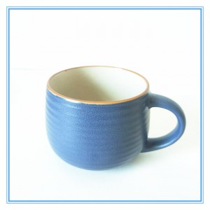 Double Molded Glaze Mug Belly Shape Stoneware Mug