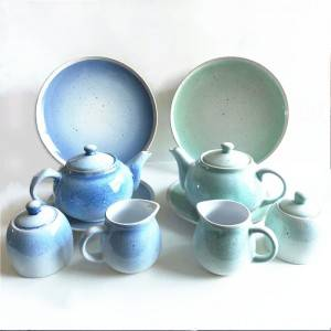 Hot Sale Light Color Glazed Dinnerware Stoneware Tea Pot Set