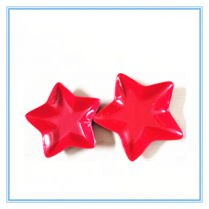 2019 Newly Design Red Star-Shaped Ceramic Deep Snack Serving Dish