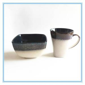 Natural Material Dinnerware Square Design Stoneware Mugs and Bowls