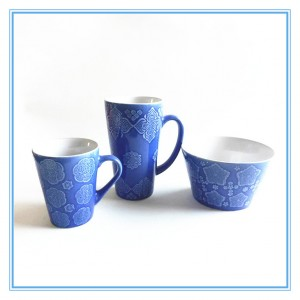 Flower Pattern Colorful Embossed Design Stoneware Mugs and Bowls Made In China