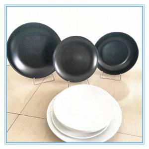 Wholesale Ceramic White and Black Dinner Plate Stoneware Glaze Embossed Plate Sets