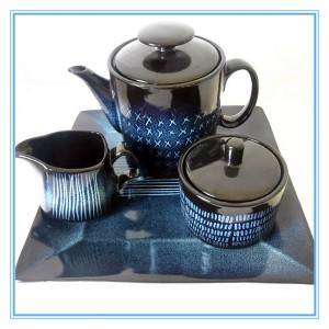 Square Shape Design Reactive glazed Stoneware Tea Pot Set