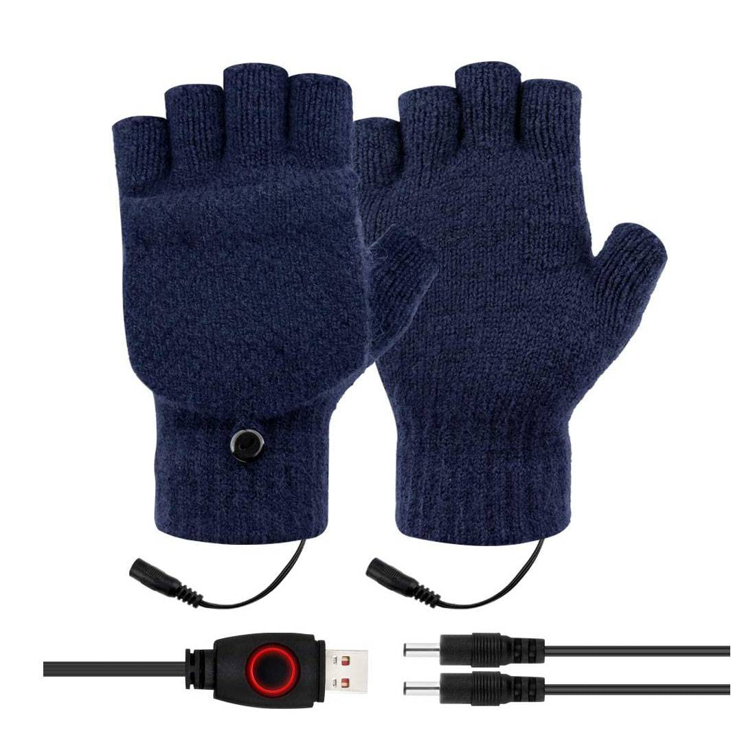 Unisex USB Heated Gloves Winter Full&Half Fingers Knitting Electric Heating Gloves