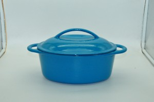 Colored Oval Cast Iron Enamel Barbed Casserole