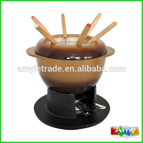 SW-607N ເລດ Cast Iron Fondue ຊຸດ, Porcelain Cheese Fondue ກໍານົດ